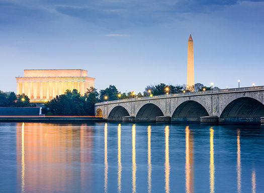 National monuments and bridge sunset
