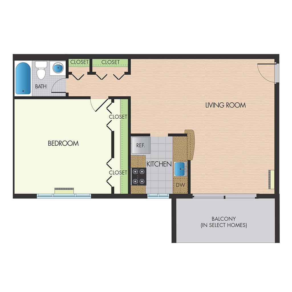 Monticello Falls Church one bedroom floor plan