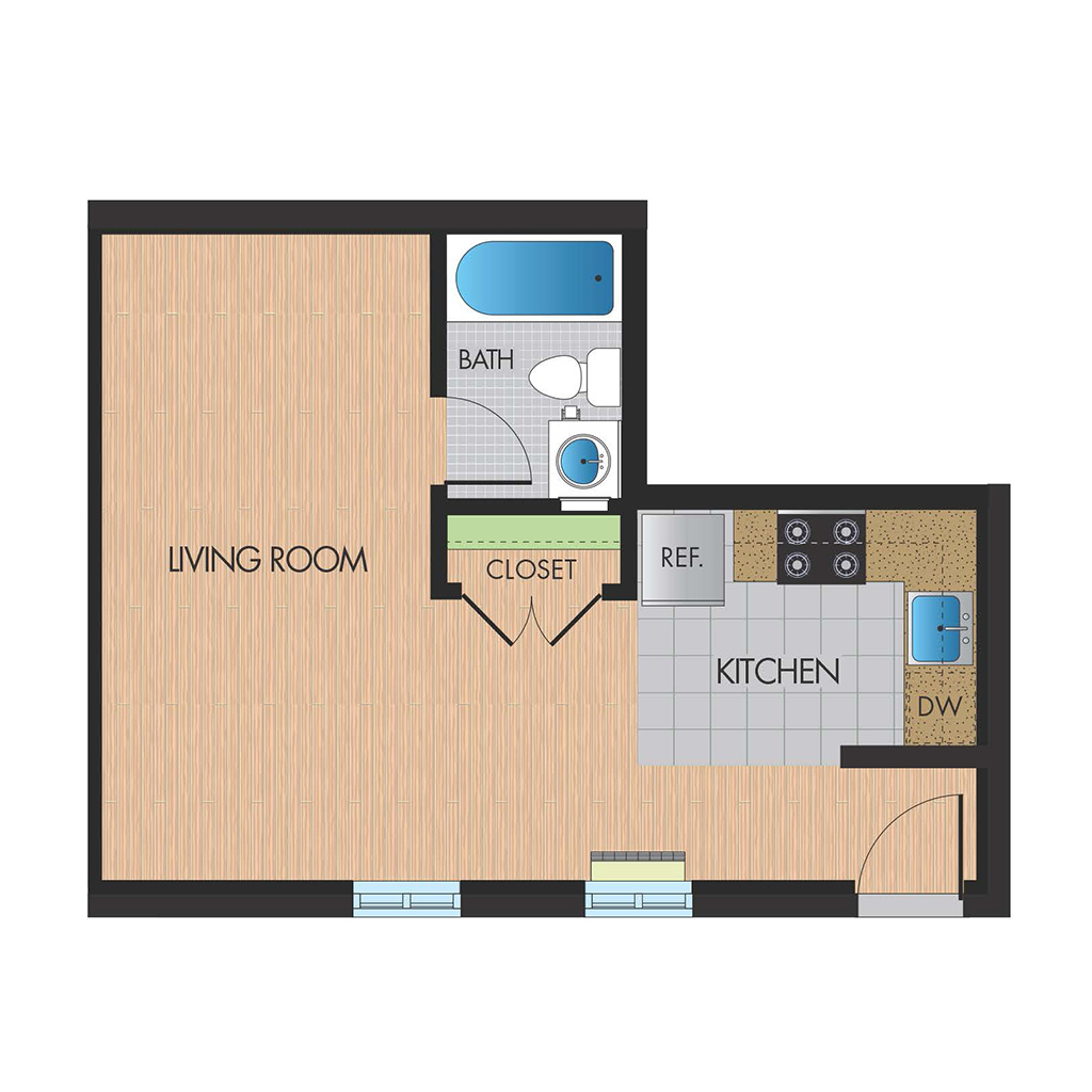 Monticello Falls Church studio floor plan