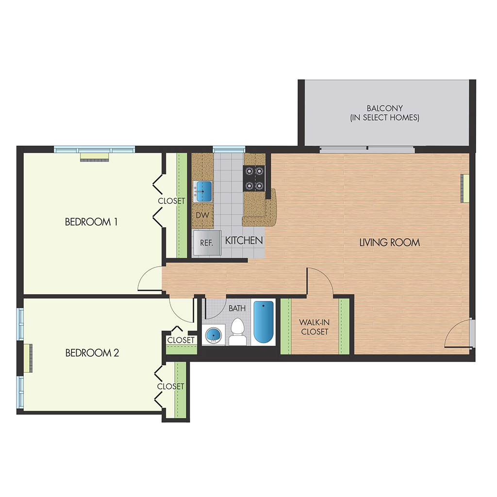 Monticello Falls Church two bedrooms floor plan